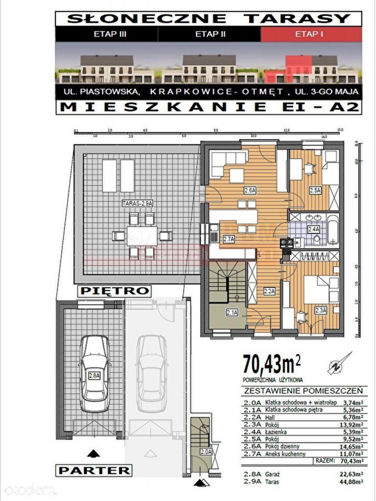 Mieszkanie, 70,43 m², Krapkowice