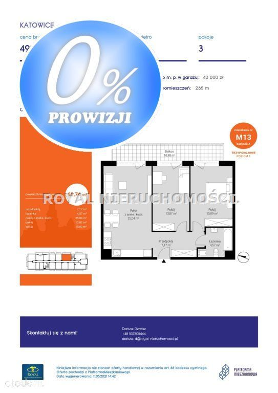 Mieszkanie, 65,74 m², Katowice