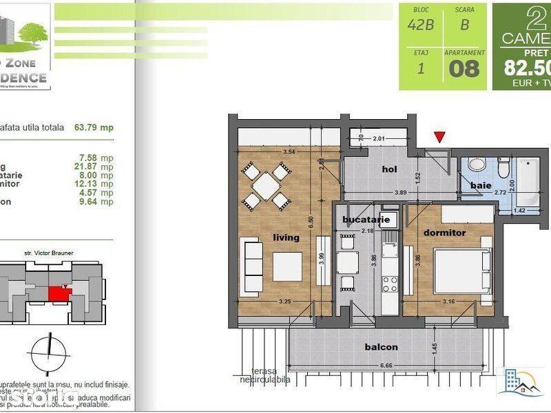 Apartament 2 camere, bucatarie mobilata, 7 min metrou Nicolae Teclu