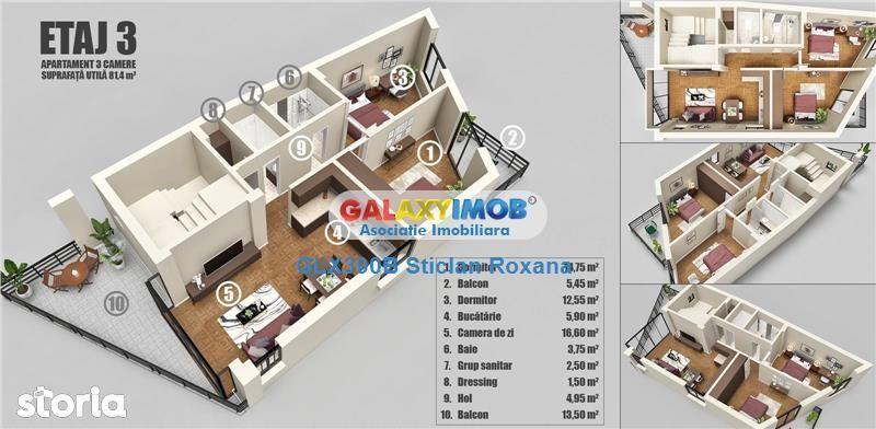 Vanzare apartament 3 camere, bloc nou, Dristor, terasa 13 mp