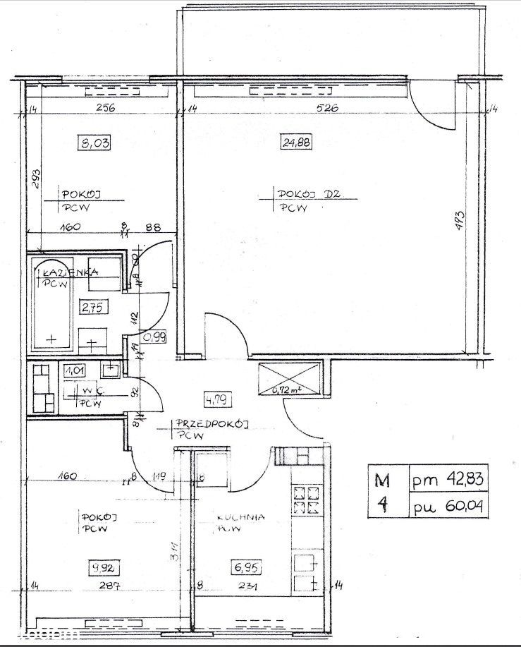 60 m², 3 pokoje, Grodzisk Maz