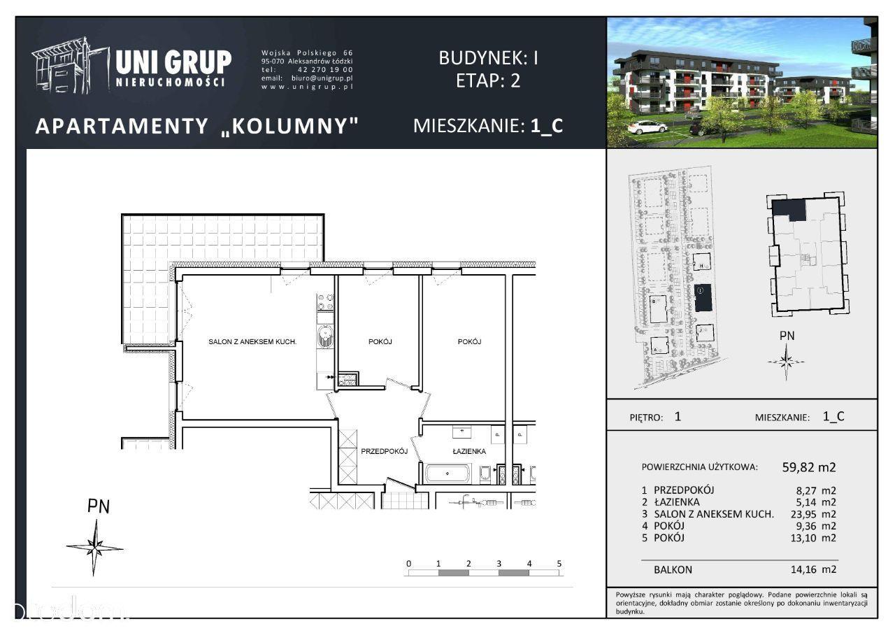 3 pokoje - Lokal C - 1 PIĘTRO budynek I - etap II