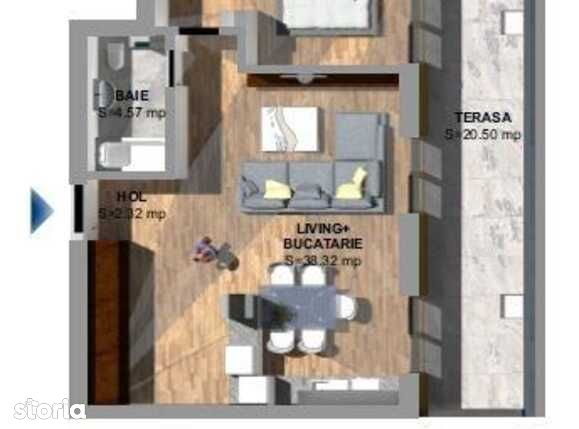 Vanzare apartament de 2 camere plus TERASA 20 mp, zona de NORD