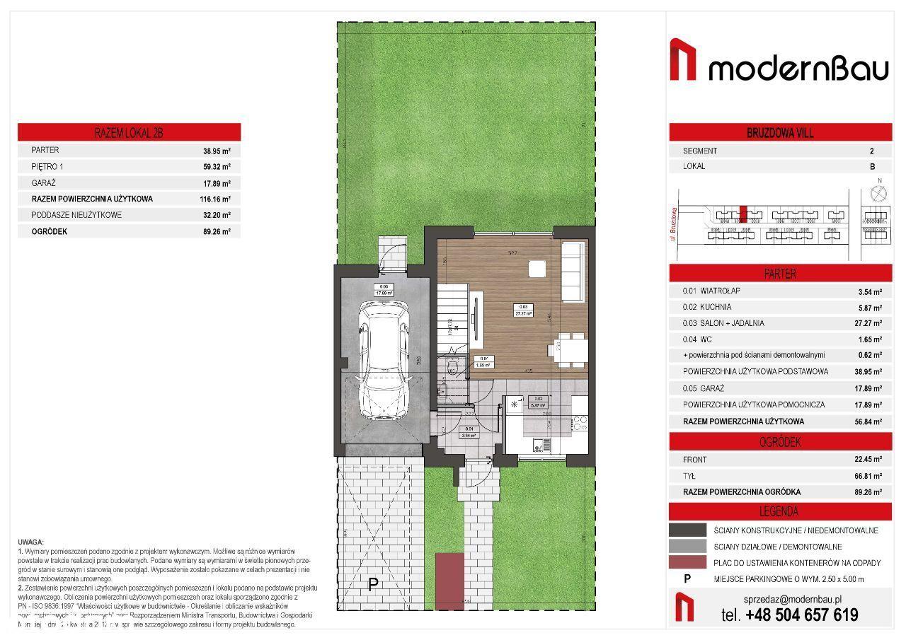 Wilanów/Zawady. Segment 148,5. Ogródek 89,5 m2
