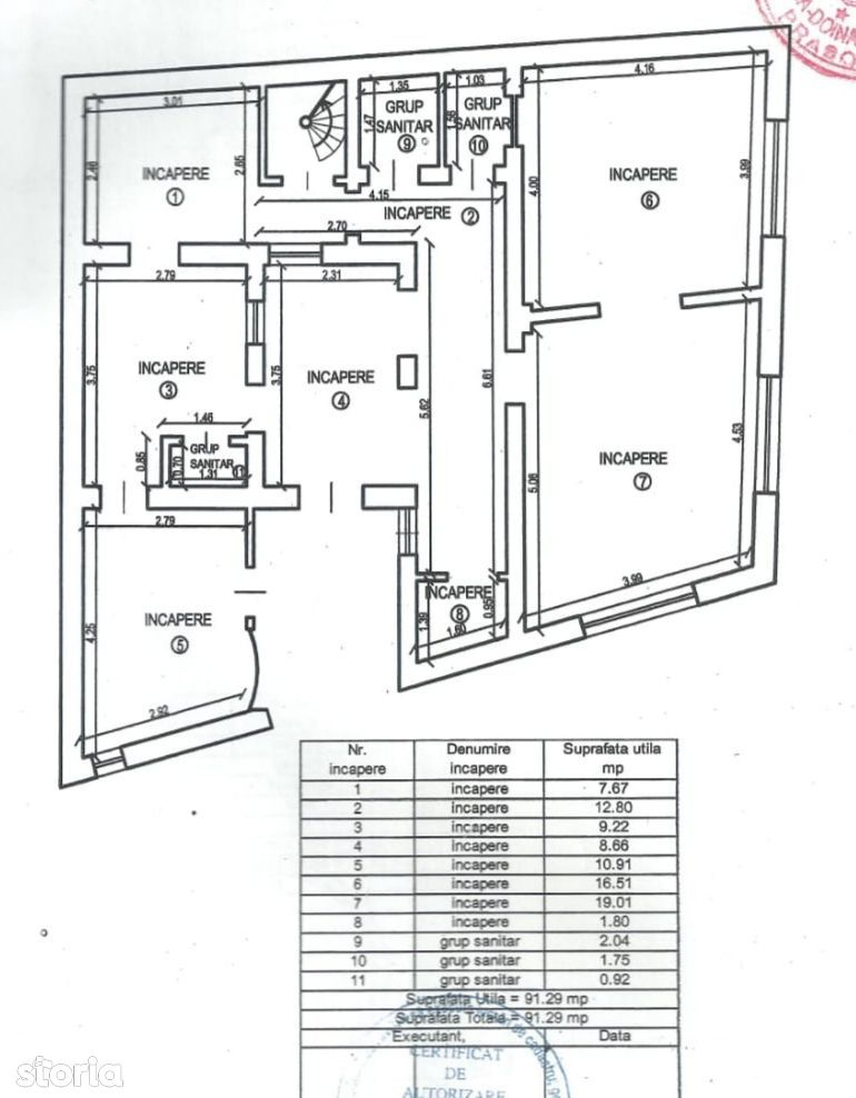 Spatiu comercial 10camere 4 grupuri sanitare 142mp