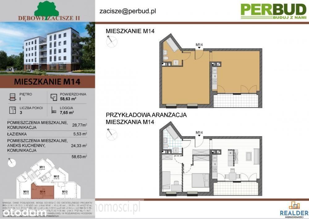 Mieszkanie, 58,63 m², Zielona Góra