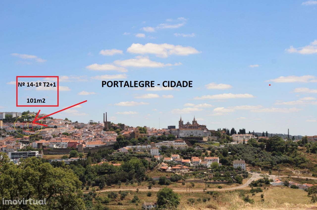 Portalegre, Habitação,16-1º, T2+1 Lindas vistas, Nas./Poente, varanda