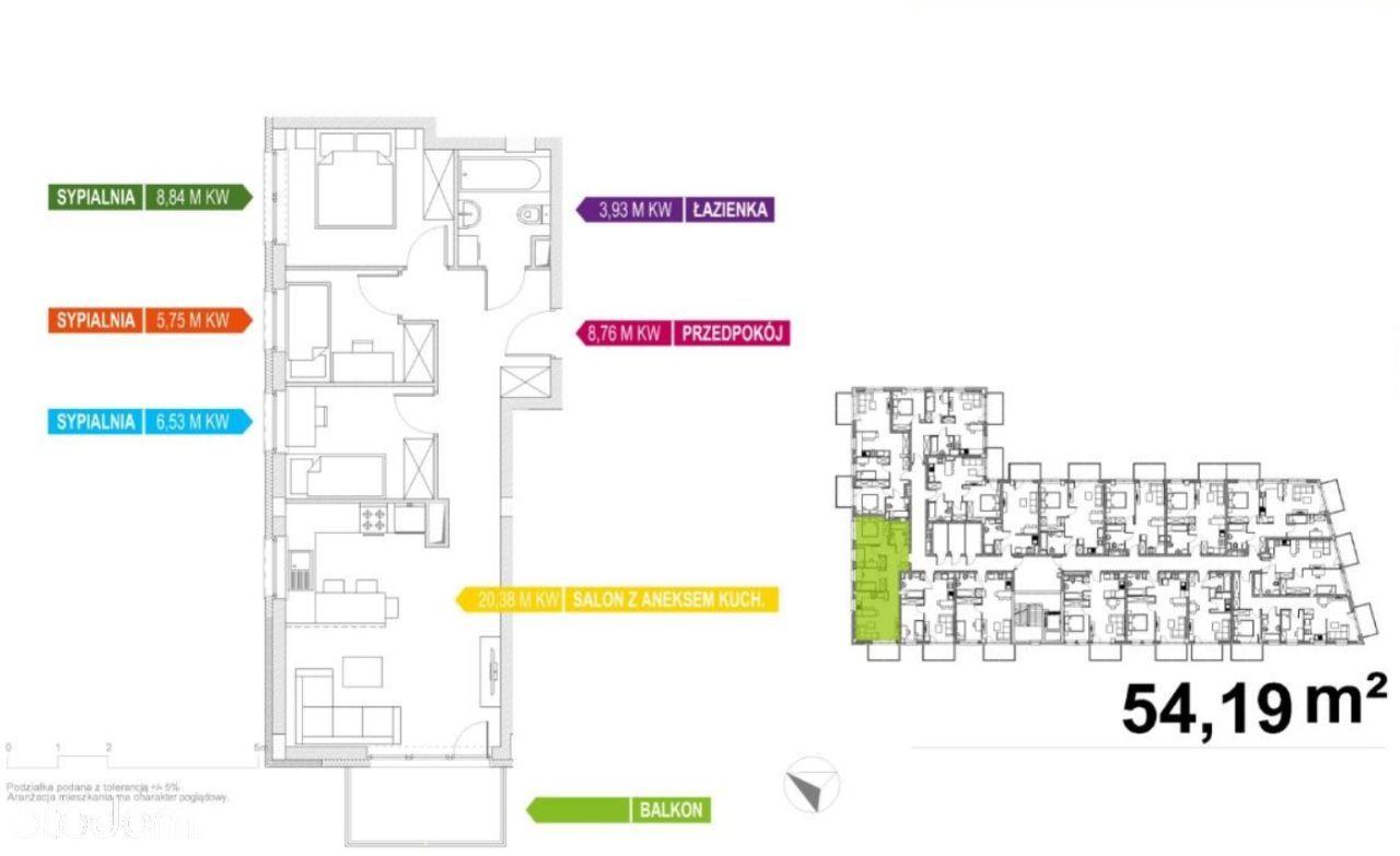 Apartament 55m2, 4 pokoje, Wysoki Standard Osiedla