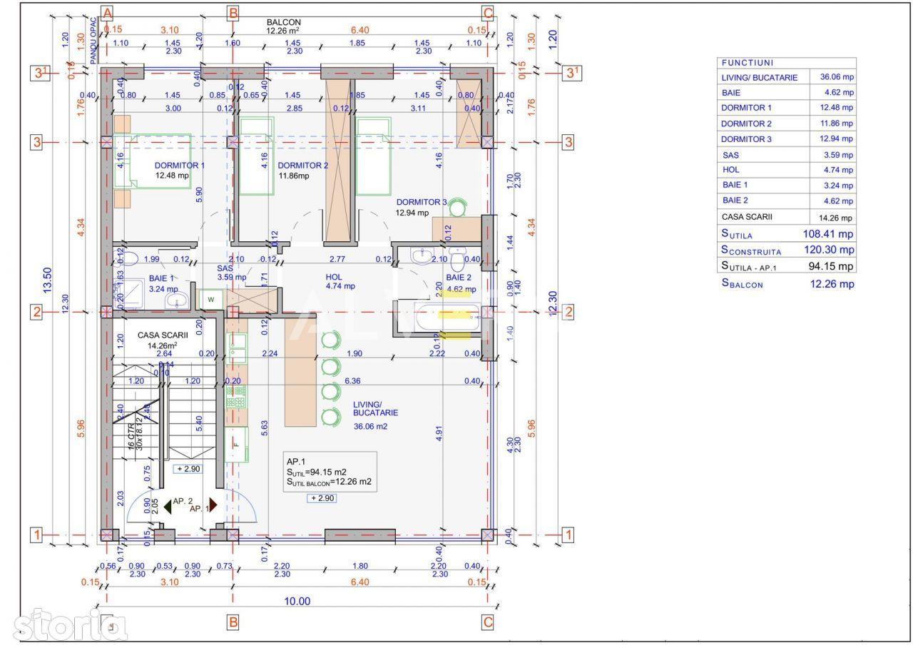 NOU! Apartament 4 camere, 94mp, 2 bai, terasa 12mp, parcare - Zorilor