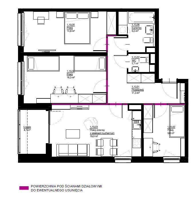 4 pokojowe mieszkanie, 78,8m2, Wrotków