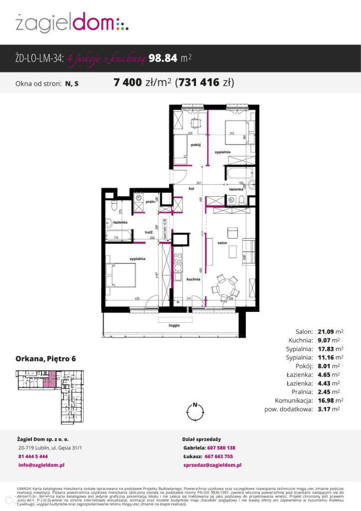 4-pokojowe mieszkanie Orkana Residence M34