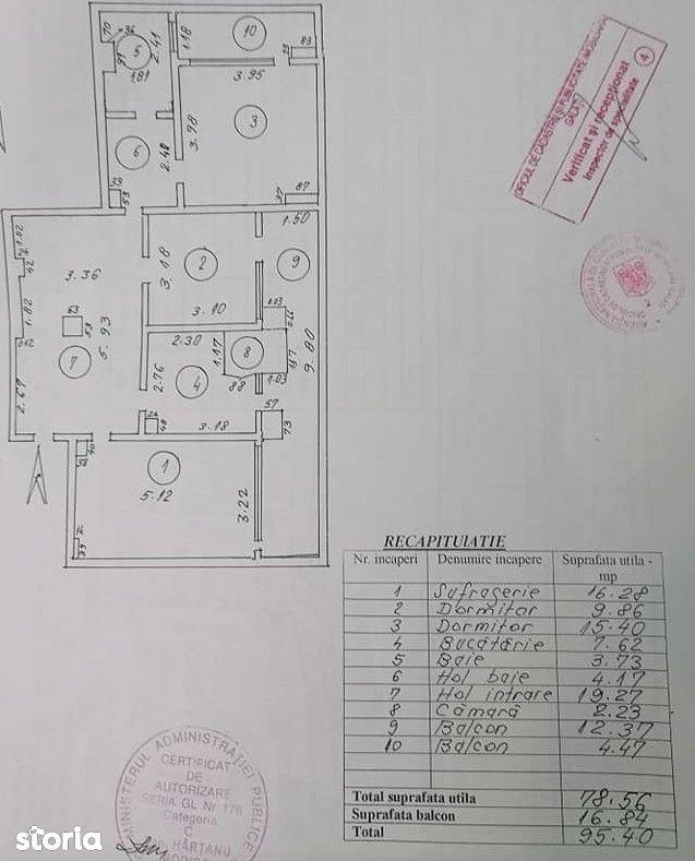 Vanzare Apartament 3 camere, Mazepa, 95mp, etaj 9