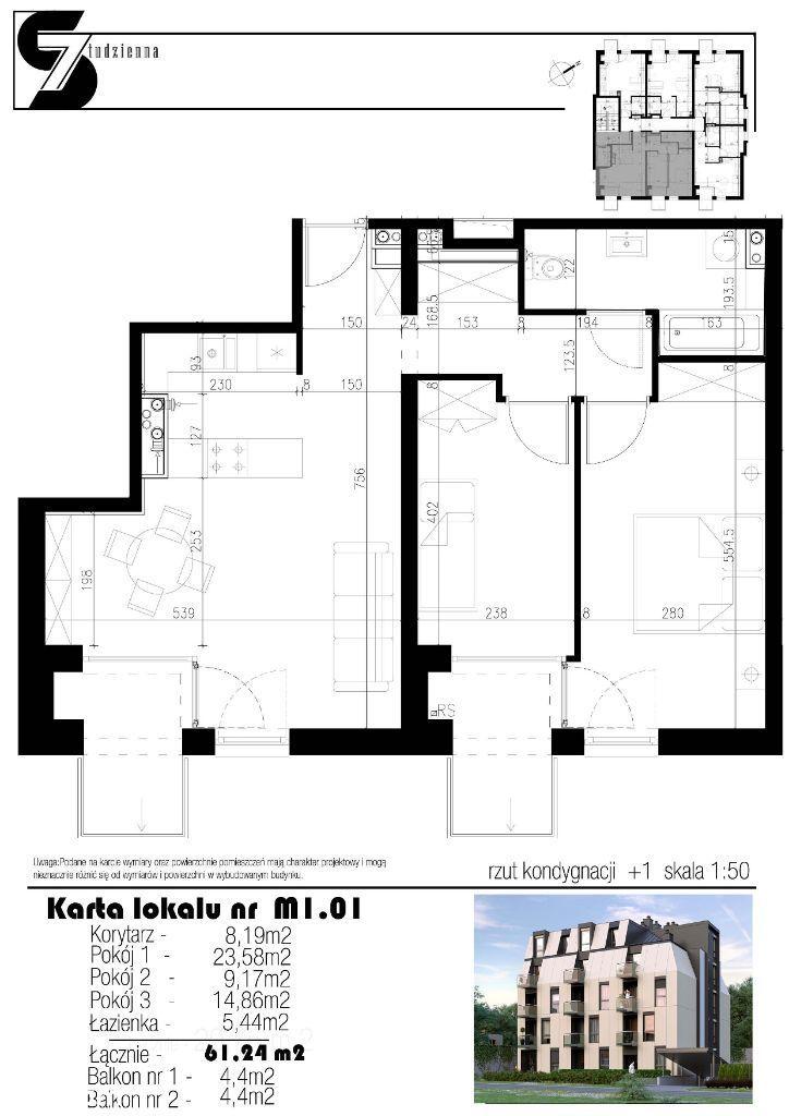 mieszkanie 3-pokojowe M1.01