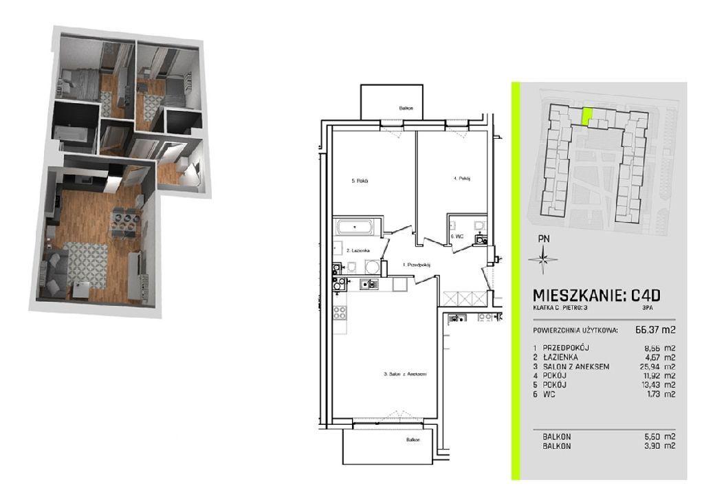 Trzy pokoje w nowym apartamentowcu na Złotnie w ot