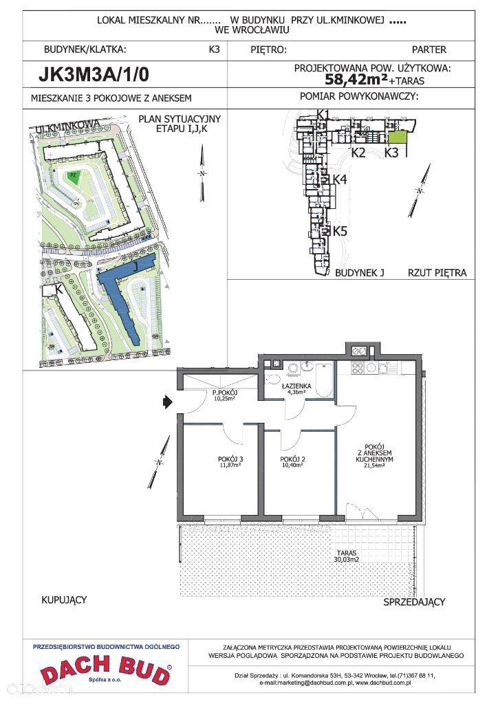 3-pokoje, 2 łazienki, taras,parking, Korzenna