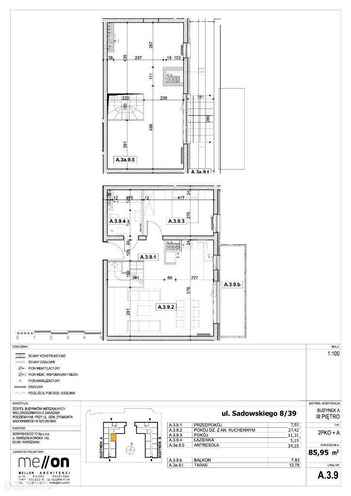 3 pokoje, dwa poziomy, taras, stan deweloperski