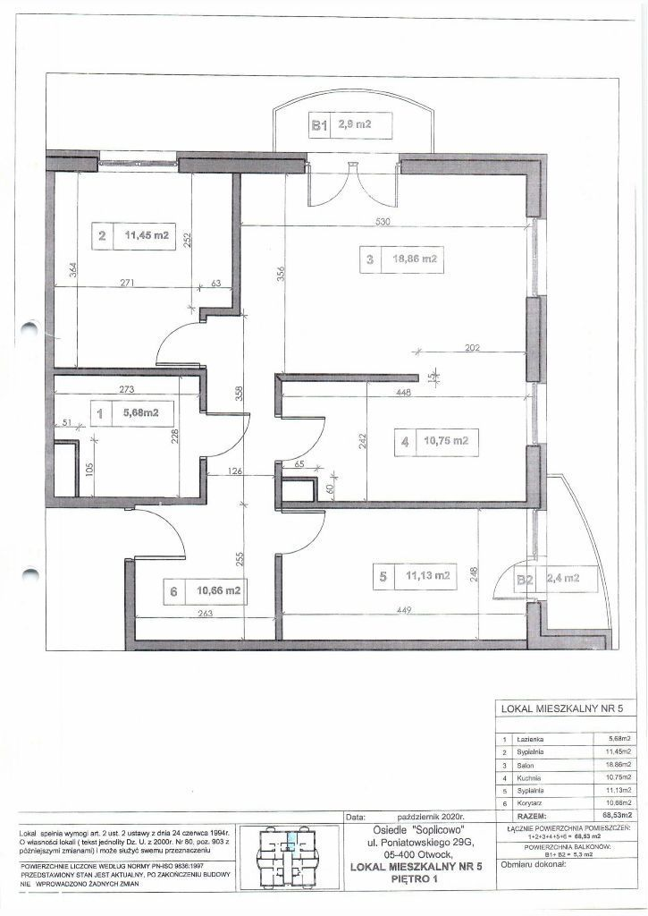Mieszkanie, 68,53 m², Otwock