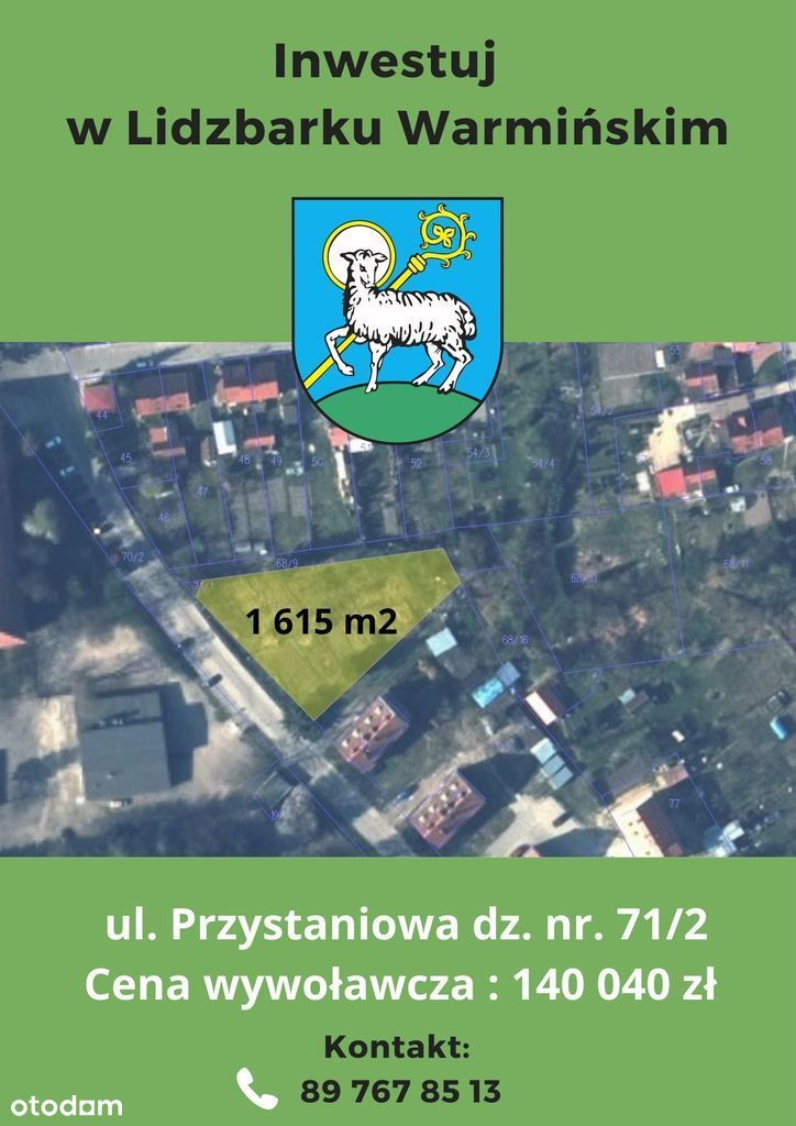 Działka, 1 615 m², Lidzbark Warmiński