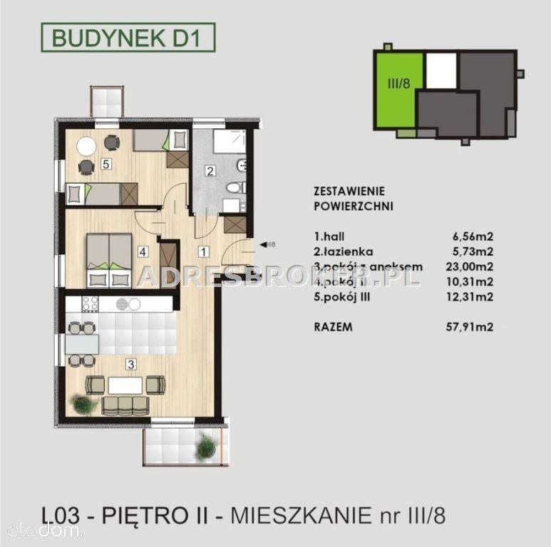 Mieszkanie, 57,91 m², Knurów
