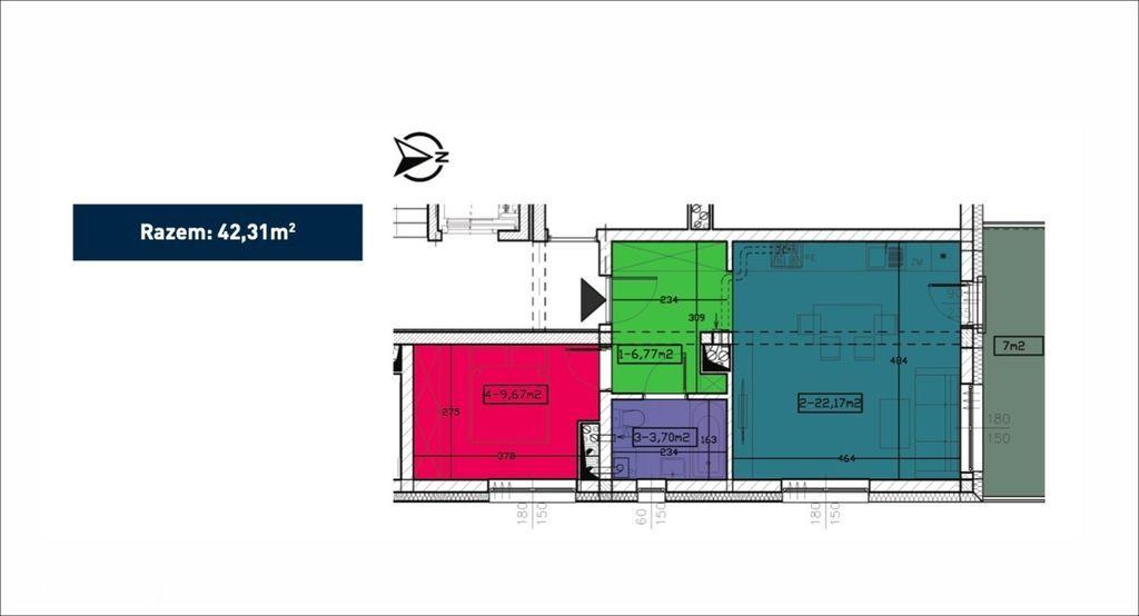 2 pokoje, komórka i balkon