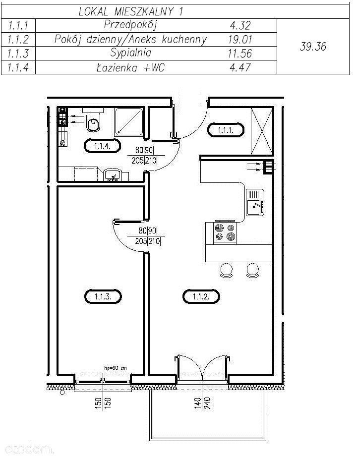 Przystań Franciszka Nowe Mieszkania 2 pok. 39,36m2