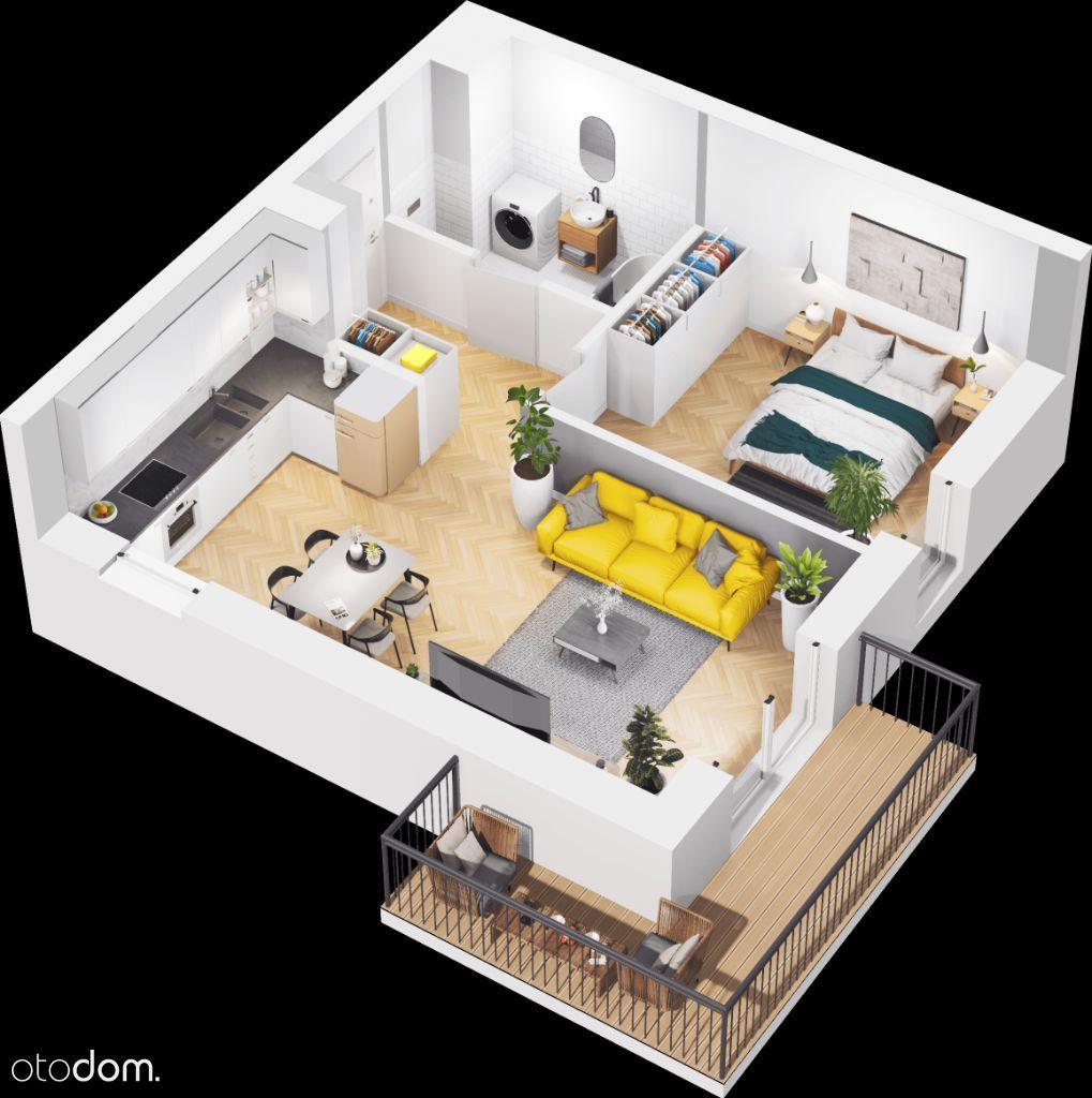 Duże 2-pokojowe mieszkanie z balkonem