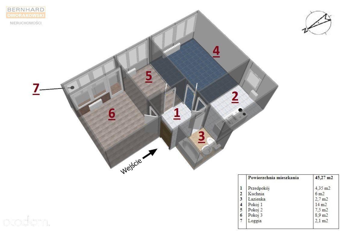 Parter, trzypokojowe mieszkanie z loggią, 45,2 m2