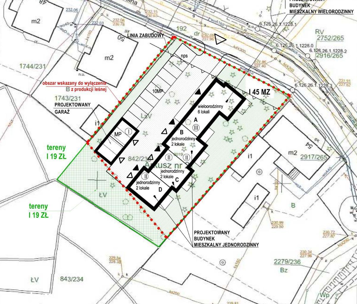Działka pod budownictwo mieszkaniowe -12 mieszkań