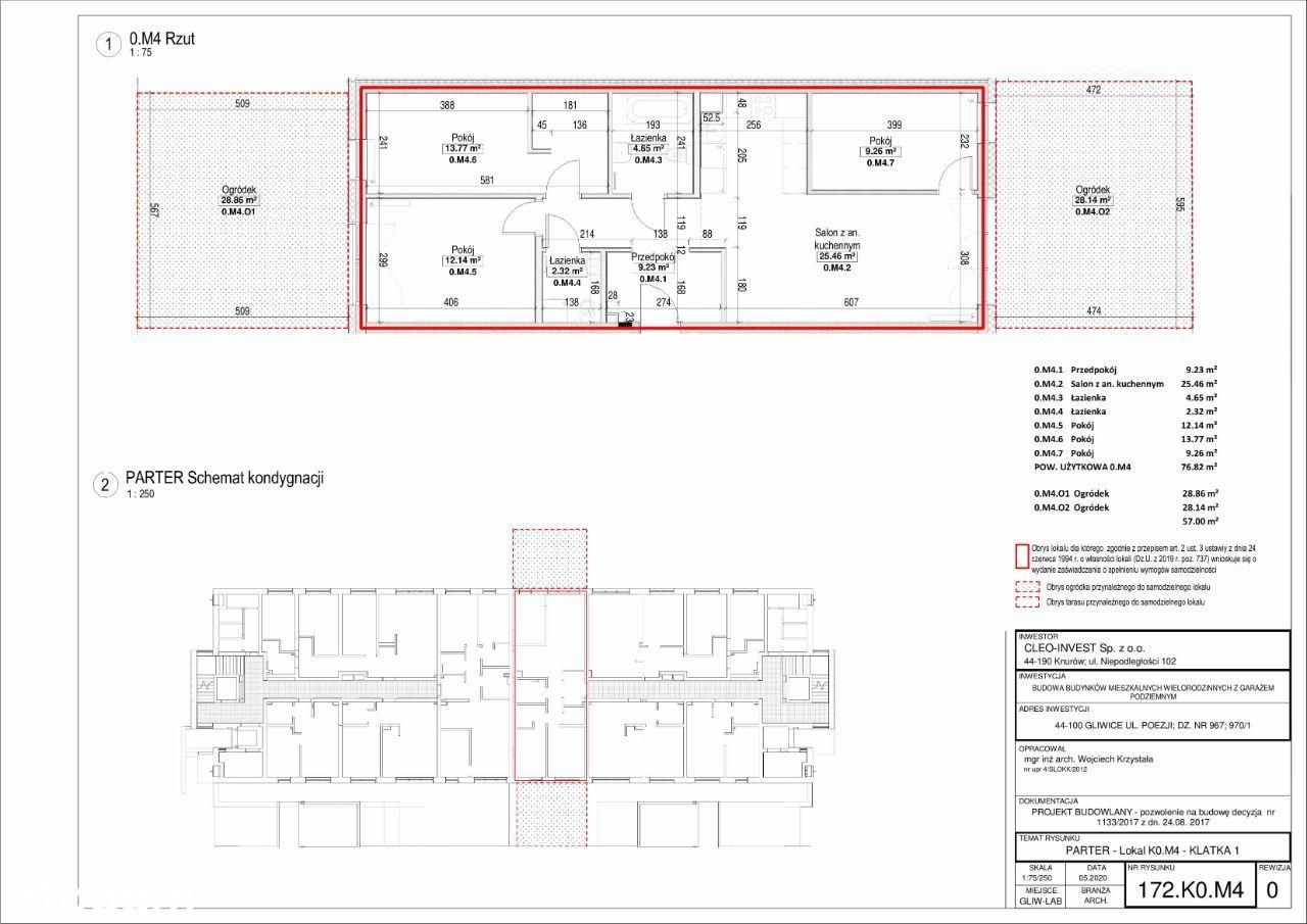 Nowe mieszkanie 77m2, 4 pokoje, dwa ogródki