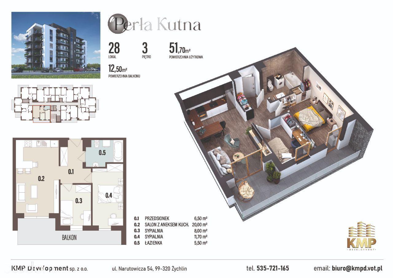 Mieszkanie 51,70m2 - 3 pokoje + balkon 12,5m2!