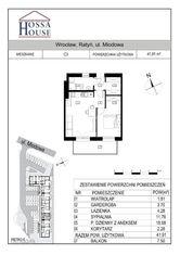C3 - 2 pok. - 42m2 + balkon 7,5 m, 2p/2p.