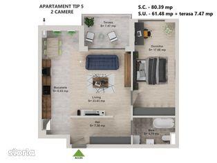 Direct dezvoltator - 2 camere / Promotie - loc parcare GRATUIT / Tip 5