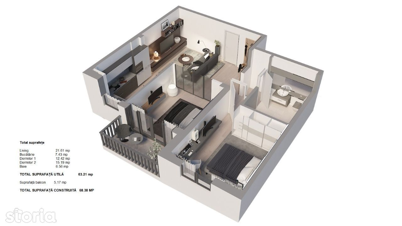 Apartament 3 camere, etaj superior 4/7, zona Triaj-Coresi, zonă nouă!