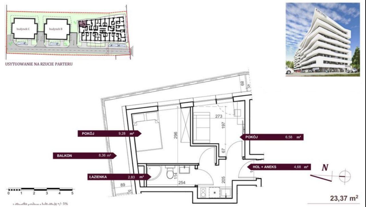Narożne Mieszkanie 24m2, 2 pokoje, Bez Prowizji!