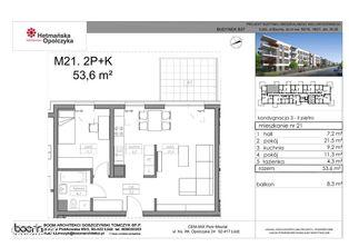 B37-M21, mieszkanie 2-pokojowe, 53,60 m2, 2 piętro