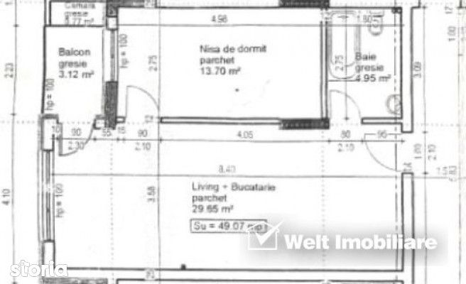 Apartament 2 camere, 49 mp, logie 3,12 mp, etaj 3, parcare subterana,
