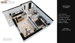 2 camere, 53 mp, Dream Residence