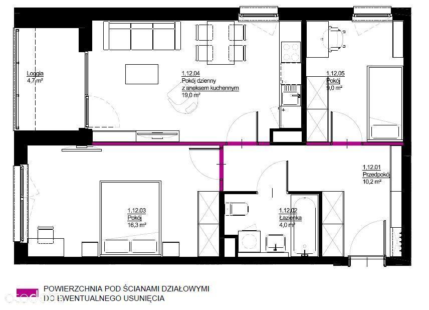 Trzy pokoje 59,7m2, ul. Wolińskiego