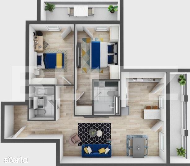 3 camere, 73 mp utili, 2 terase, preturi incepand de la 1330 euro!