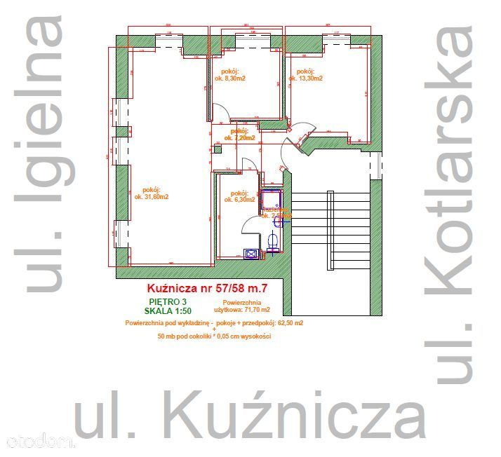 Lokal użytkowy 71,70 m², CENTRUM, ul. Kuźnicza