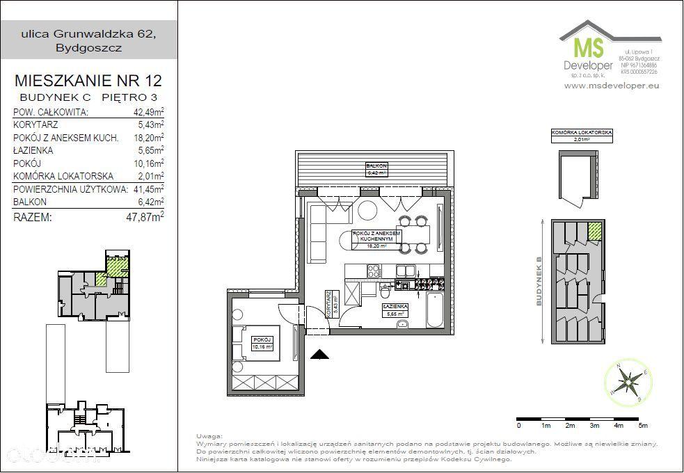 m2, 3 piętro, balkon