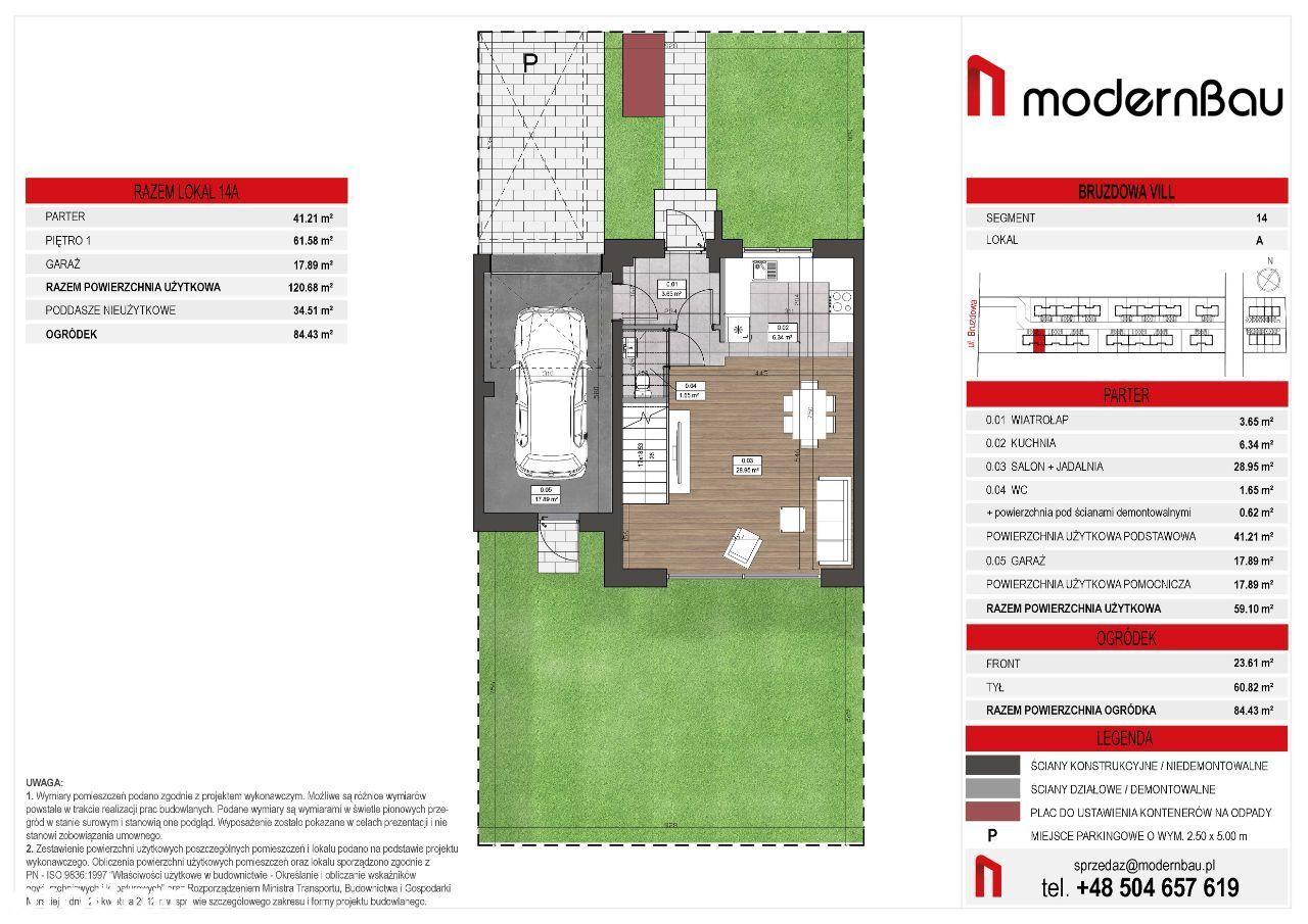Wilanów/Zawady. Segment 155,2 m. Ogródek 84,5 m2