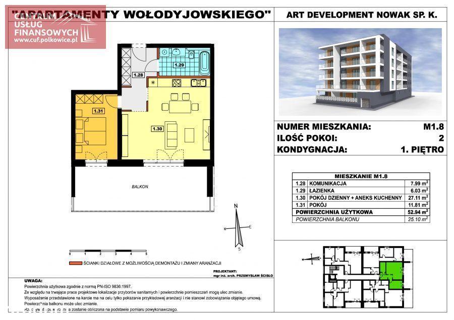 Nowe budownictwo 2 pok. 52,94 m2, Wołodyjowskieg
