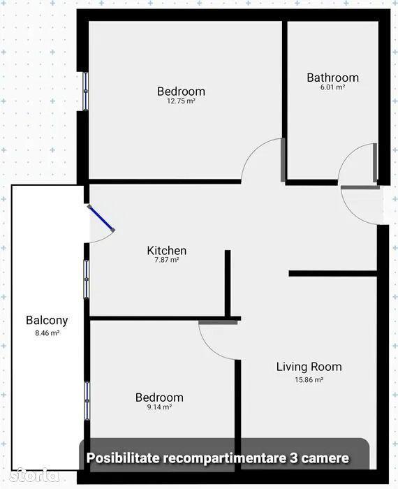 Apartament cu 2 camere de vanzare in Floresti.