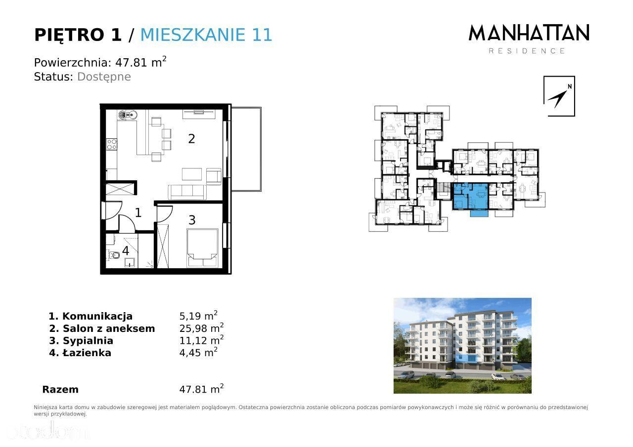 M11 Mieszkanie 47.81 mkw w Centrum