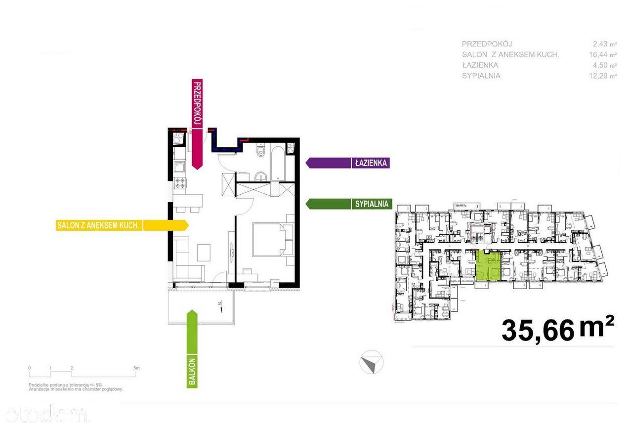 Apartament 36m2, 2 pokoje, Wysoka Stopa Zwrotu!