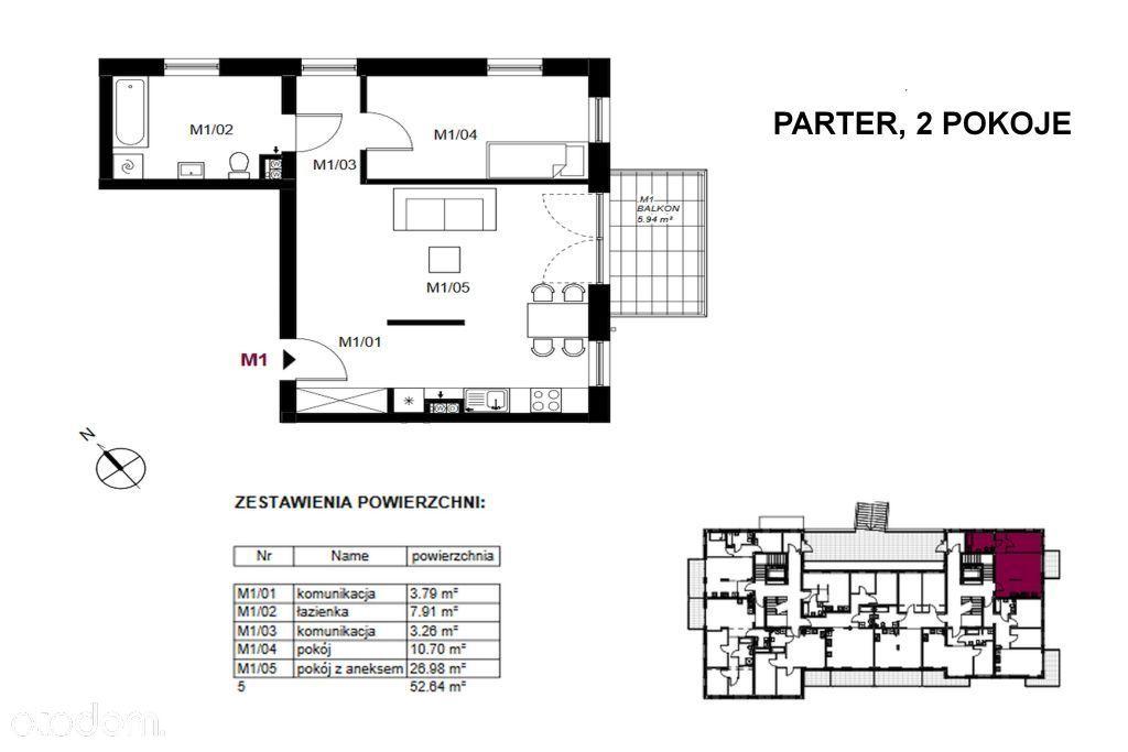 2-pokojowe mimeszkanie o pow. 52,64 m2