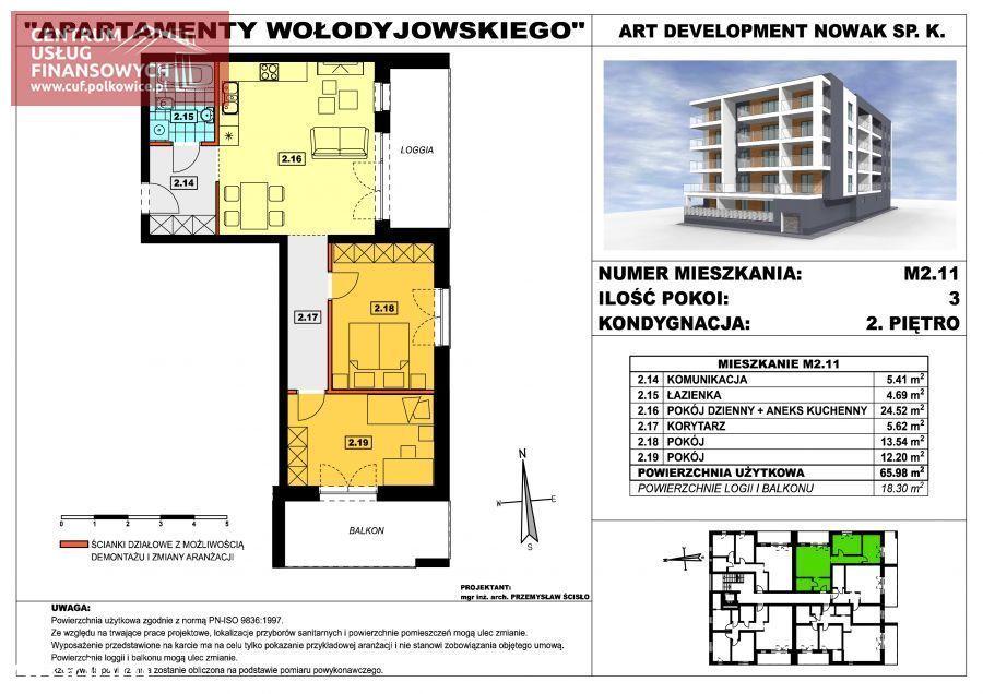 Nowe budownictwo 3 pok. 65,98 m2, Wołodyjowskieg