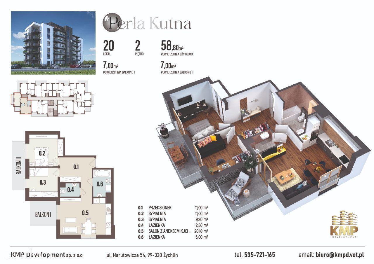 Mieszkanie 58,8m2 - 3pokoje, 2 balkony, osobne WC!