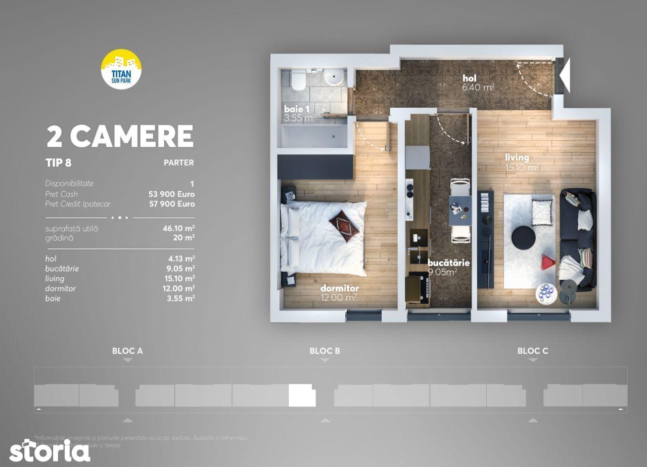 Apartament 2 cam ,46mp+20mp G , Direct Dez, Comision 0%, 12 min Metrou